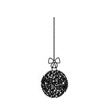 Silhouette hanging christmas wreath of glass with star decorations. Illustration royalty free illustration