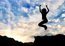 Silhouette  a happy business woman jumping Royalty Free Stock Photography