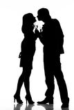 Silhouette of a happy couple Stock Photography