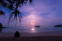Silhouette of happy couple at luxury fullmoonset . Royalty Free Stock Image