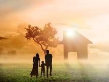 Silhouette happy family Royalty Free Stock Photo