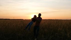 Silhouette of a happy family: a father circles his son in a wheat field during sunset stock video
