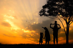 silhouette of a happy family of five people, mother, father, baby, child and infant(women prenancy) Royalty Free Stock Photography