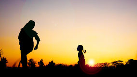 Silhouette happy family mother and daughter in the park at sunset Stock Images