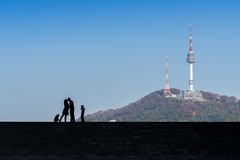 A silhouette of a happy family with Seoul Tower background,korea Stock Photos