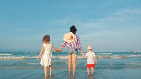 Silhouette of a Happy Family Standing on the Beach and Looking at the Sea at Sunset. Happy Mom with Children Walking on stock footage