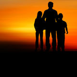 Silhouette of happy family Royalty Free Stock Images