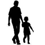 Silhouette of happy family on a white background Royalty Free Stock Photos