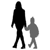 Silhouette of happy family on a white background. Vector illustration. Royalty Free Stock Image