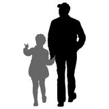 Silhouette of happy family on a white background. Vector illustration. Stock Photo