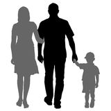 Silhouette of happy family on a white background. Vector illustration. Royalty Free Stock Photography