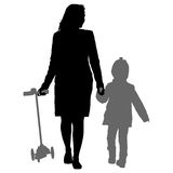 Silhouette of happy family on a white background. Vector illustration. Stock Photos
