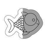 Silhouette happy fish cartoon icon. Illustration design Stock Photos