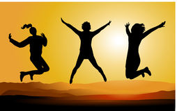 Silhouette of Happy Jumping People. Stock Image