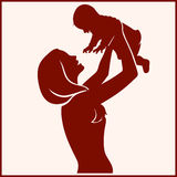 Silhouette Happy Mother and Baby Stock Image
