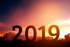 Silhouette Happy for 2018 new year stock photo