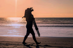 Silhouette Of Happy Woman Taking Photos stock images