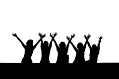 Silhouette of happy women Royalty Free Stock Images