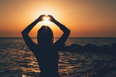 Funny Girl In Sunset stock images