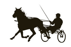 Silhouette of harness racing. Black silhouette of harness racing on a white Stock Image