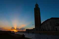 Silhouette of Hassan II Mosque in Casablanca. At sunset, Morocco Africa royalty free stock images