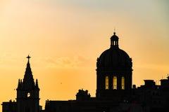 Silhouette of Havana, Cuba. Sunset behind cityscape of Habana stock photos