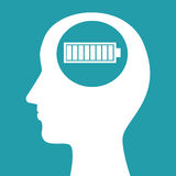 Silhouette head battery charged concept icon Stock Photos