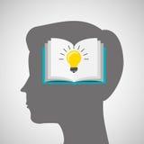 Silhouette head boy book idea education online Stock Photo