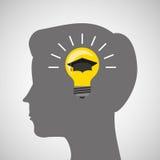 Silhouette head boy idea cap graduation education online Stock Image