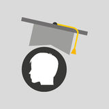 Silhouette head boy student hat graduation Royalty Free Stock Images