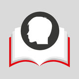 Silhouette head boy student open book Royalty Free Stock Photo