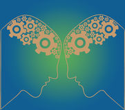 Silhouette of the head, brain, and cog gears. Vector Illustratio Royalty Free Stock Photography
