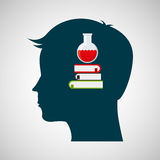 Silhouette head chemical book test tube design Royalty Free Stock Images
