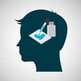 Silhouette head chemical laboratory test dropper design Stock Image