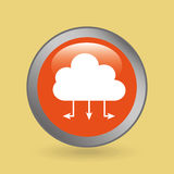 silhouette head cloud data connected icon graphic Stock Photography