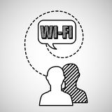 Silhouette head connected wifi social media Stock Image