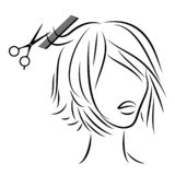Silhouette of a head of a sweet lady. A girl in a beauty salon. The woman does her hair, cuts her hair. Vector illustration stock illustration