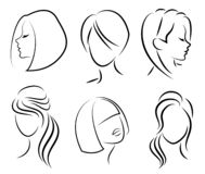 Silhouette of the head of a cute lady. The girl shows her hairstyle for medium and short hair. Suitable for logo, advertising. Vector illustration vector illustration