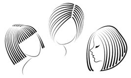 Silhouette of the head of a cute lady. The girl shows her hairstyle for medium and short hair. Suitable for logo, advertising. Vector illustration stock illustration
