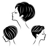 Silhouette of the head of a cute lady. The girl shows her hairstyle for medium and short hair. Suitable for logo, advertising. Vector illustration royalty free illustration