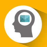 Silhouette head with email message communication icon Royalty Free Stock Photo