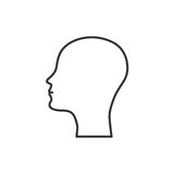 Silhouette of the head and face bald man icon flat design Stock Photo