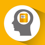 Silhouette head with folder file archive icon. Illustration Royalty Free Stock Images