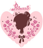 Silhouette head of the girl the princess in a frame of flowers Royalty Free Stock Photo