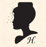 Silhouette head with hat and veil.Vector illustration of woman b Royalty Free Stock Photos