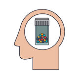 Silhouette head human with colorful pill bottle Stock Image