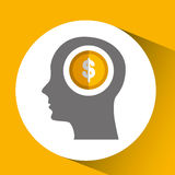 silhouette head with icon currency money yellow design Stock Photography