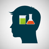 Silhouette head laboratory test tube Royalty Free Stock Photos