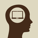 Silhouette head laptop icon graphic Stock Photography