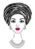 Silhouette of a head of a sweet lady. A bright shawl and a turban are tied on the head of an African-American girl. The woman is stock illustration